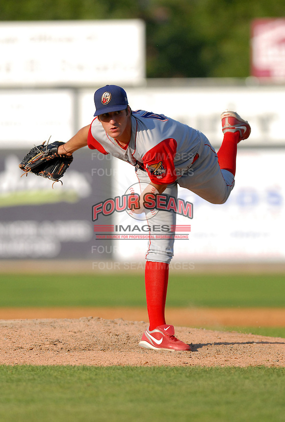 LHP Nick Hernandez of the Williamsport Crosscutters, the short season A ball affiliate of the Philadelphia Phillies,at Edward LeLacheur Park in Lowell,MA on July 18, 2009 (Photo by Ken Babbitt/Four Seam Images)