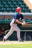 Washington Nationals minor league outfielder Bryce Harper (34) hits a home run to right field during a game vs. the Detroit Tigers in an Instructional League game at Joker Marchant Stadium in Lakeland, Florida October 1, 2010.   Harper was selected in the first round, 1st overall, of the 2010 MLB Draft out of Southern Nevada Junior College.  Photo By Mike Janes/Four Seam Images