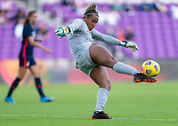 ORLANDO, FL - FEBRUARY 21: Barbara #1 of Brazil punts the ball during a game between Brazil and USWNT at Exploria Stadium on February 21, 2021 in Orlando, Florida.