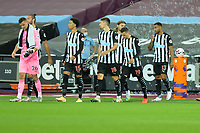 Newcastle players during West Ham United vs Newcastle United, Premier League Football at The London Stadium on 12th September 2020