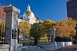 Autumn colors the Massachusetts State House, Boston, MA