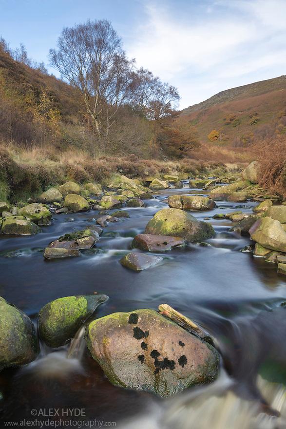 River Derwent, Howden Moors, Peak District National Park, Derbyshire, UK. November.
