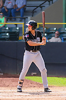 Lansing Lugnuts first baseman Ryan Noda (19) at bat during a Midwest League game against the Clinton LumberKings on July 15, 2018 at Ashford University Field in Clinton, Iowa. Clinton defeated Lansing 6-2. (Brad Krause/Four Seam Images)