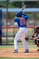 GCL Mets designated hitter Jaylen Palmer (22) at bat during a game against the GCL Marlins on August 3, 2018 at St. Lucie Sports Complex in Port St. Lucie, Florida.  GCL Mets defeated GCL Marlins 3-2.  (Mike Janes/Four Seam Images)
