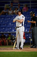 Binghamton Rumble Ponies pinch hitter Matt Oberste (5) at bat during a game against the Altoona Curve on May 17, 2017 at NYSEG Stadium in Binghamton, New York.  Altoona defeated Binghamton 8-6.  (Mike Janes/Four Seam Images)
