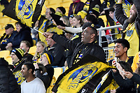 Hurricanes fans celebrate a try during the Super Rugby - Hurricanes v Rebels at Sky Stadium, Wellington, New Zealand on Friday 21 May 2021.<br /> Photo by Masanori Udagawa. <br /> www.photowellington.photoshelter.com
