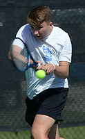 Har-Ber's Carter Swope returns a shot Tuesday, Oct. 12, 2021, during the 6A state tennis finals at Memorial Park in Bentonville. Visit nwaonline.com/211013Daily/ for today's photo gallery.<br /> (NWA Democrat-Gazette/Andy Shupe)