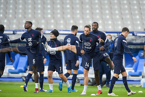 17th November 2020; Stade de France, Paris,  France; UEFA National League international football, France versus Sweden; France warm up for Adrien Rabiot (France)