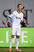 Cristiano Ronaldo (7) of Real Madrid celebrates scoring. Real Madrid defeated A. C. Milan 5-1 during a 2012 Herbalife World Football Challenge match at Yankee Stadium in New York, NY, on August 8, 2012.