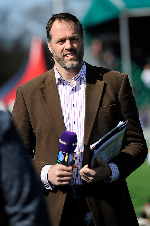 Martin Bayfield, BT Sport presenter during the Aviva Premiership Rugby match between Saracens and Leicester Tigers at Allianz Park on Saturday 11th April 2015 (Photo by Rob Munro)