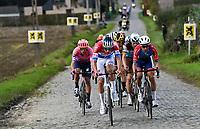 Elite little peloton: Mathieu Van der Poel (NED/Alpecin-Fenix),  Alberto Bettiol (ITA/EF), Anthony Turgis (FRA/Total - Direct Energie),  Oliver Naesen (BEL/AG2R-LaMondiale),  Wout van Aert (BEL/Jumbo - Visma)....<br /> <br /> 104th Ronde van Vlaanderen 2020 (1.UWT)<br /> 1 day race from Antwerpen to Oudenaarde (BEL/243km) <br /> <br /> ©kramon