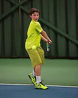 Rotterdam, The Netherlands, 07.03.2014. NOJK ,National Indoor Juniors Championships of 2014,   Freek van Donselaar(NED)   Björn Vermeulen (NED)<br /> Photo:Tennisimages/Henk Koster