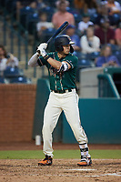 Matt Gorski (36) of the Greensboro Grasshoppers at bat against the Winston-Salem Dash at First National Bank Field on June 3, 2021 in Greensboro, North Carolina. (Brian Westerholt/Four Seam Images)