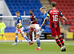 St Johnstone v St Mirren……29.08.20   McDiarmid Park  SPFL<br />Ali McCann clears from Sam Foley<br />Picture by Graeme Hart.<br />Copyright Perthshire Picture Agency<br />Tel: 01738 623350  Mobile: 07990 594431