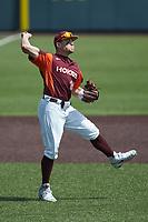 Virginia Tech Hokies third baseman Kevin Madden (26) makes a throw to first base against the Boston College Eagles at English Field on April 3, 2021 in Blacksburg, Virginia. (Brian Westerholt/Four Seam Images)