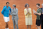 Andy Murray, Great Britain celebrates the victory in the Madrid Open Tennis 2015 in presence of Rafael Nadal, spanish tennis legend Manolo Santana and Queen Sofia of Spain. May, 10, 2015.(ALTERPHOTOS/Acero)