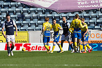 3rd April 2021; Dens Park, Dundee, Scotland; Scottish FA Cup Football, Dundee FC versus St Johnstone; Guy Melamed of St Johnstone is congratulated after scoring for 1-0 by Liam Craig in the 19th minute