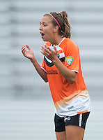 Shelly Lyle (88) of the Charlotte Lady Eagles reacts to having a penalty kick called during the game at the Maryland SoccerPlex in Boyds, Maryland.  The Charlotte Lady eagles defeated the Long Island Rough Riders, 4-0, to advance to the W-League Eastern Conference Championship.