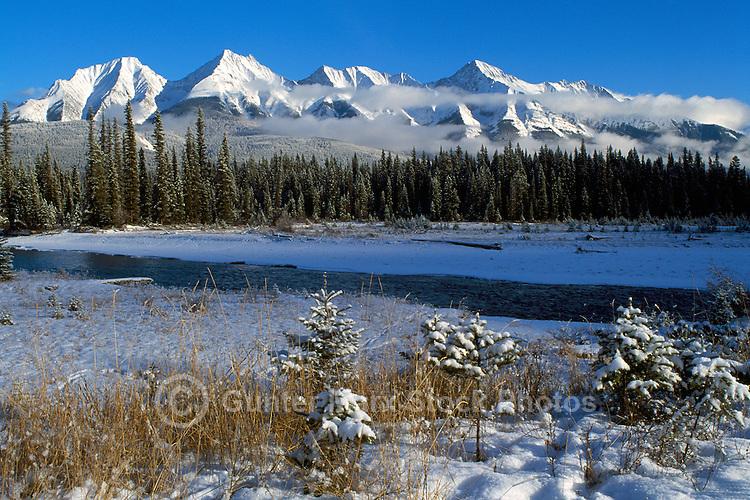Kootenay National Park, Canadian Rockies, BC, British Columbia, Canada - Snow Covered Kootenay River and Mitchell Range Mountains, Winter