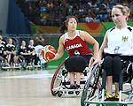 Amanda Yan, Rio 2016 - Wheelchair Basketball // Basketball en fauteuil roulant.<br /> The Canadian women's wheelchair basketball team plays Germany in the preliminaries // L'équipe canadienne féminine de basketball en fauteuil roulant affronte l'Allemagne dans la ronde préliminaire. 11/09/2016.