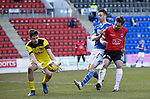 St Johnstone v Clyde…17.04.21   McDiarmid Park   Scottish Cup<br />Jamie Bain and Matej Vajs deny Guy Melamed<br />Picture by Graeme Hart.<br />Copyright Perthshire Picture Agency<br />Tel: 01738 623350  Mobile: 07990 594431