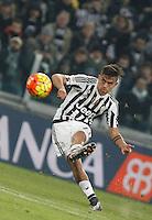 Juventus' Paulo Dybala kicks the ball during the Italian Serie A football match between Juventus and Roma at Juventus Stadium.