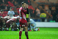 Hadleigh Parkes of Scarlets gives instruction to team mates during the European Rugby Challenge Cup Round 5 match between the Scarlets and RC Toulon at the Parc Y Scarlets in Llanelli, Wales, UK. Saturday January 11 2020
