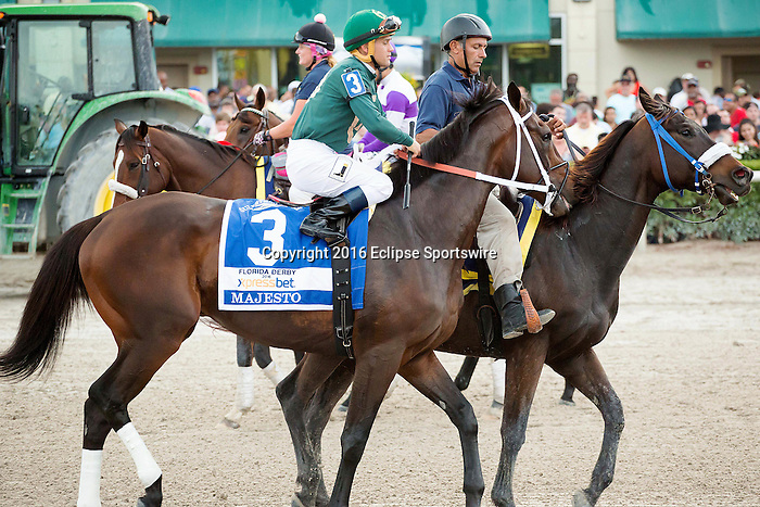 HALLANDALE BEACH, FL- APRIL 02: #3 Majesto with jockey Javier Castellano up on post parade for the Florida Derby at Gulfstream Park on April 02, 2016 in Hallandale Beach, Florida. (Photo by Arron Haggart/Eclipse Sportswire/Getty Images)