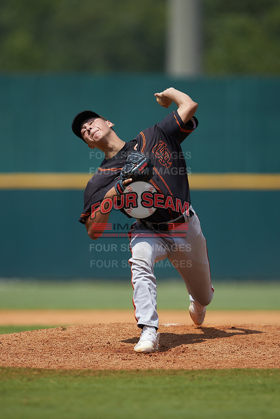 Devin Futrell (38) of American Heritage in Pembroke Pines, FL playing for the San Francisco Giants scout team during the East Coast Pro Showcase at the Hoover Met Complex on August 5, 2020 in Hoover, AL. (Brian Westerholt/Four Seam Images)