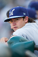 Brandon Finnegan (19) of the Wilmington Blue Rocks watches the action from the dugout during the Carolina League game against the Winston-Salem Dash at BB&T Ballpark on July 6, 2014 in Winston-Salem, North Carolina.  The Dash defeated the Blue Rocks 7-1.   (Brian Westerholt/Four Seam Images)