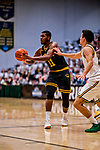 16 March 2019: UMBC Retriever Guard R.J. Eytle-Rock, a Freshman from London, England, makes a pass in the first half against the University of Vermont Catamounts, in the America East Championship Game at Patrick Gymnasium in Burlington, Vermont. The Catamounts defeated the Retrievers 66-49 to take the AE Championship for the 2018/2019 NCAA Men's Basketball season. Mandatory Credit: Ed Wolfstein Photo *** RAW (NEF) Image File Available ***