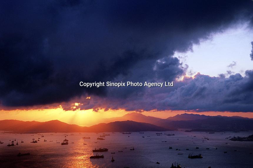 Overlooking Hong Kong deep water harbor skylines  from the Peak, Hong Kong..