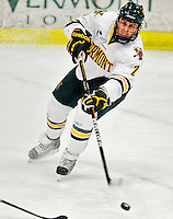 26 November 2010: University of Vermont Catamount defenseman Drew MacKenzie, a Junior from New Canaan, CT, in action against the Northeastern University Huskies at Gutterson Fieldhouse in Burlington, Vermont. MacKenzie scored a goal and an assist for the Cats, but the Huskies came back from a 2-0 deficit to earn a 2-2 tie. Mandatory Credit: Ed Wolfstein Photo