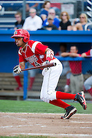 Batavia Muckdogs outfielder Reggie Williams #4 during a NY-Penn League game against the Williamsport Crosscutters at Dwyer Stadium on August 12, 2012 in Batavia, New York.  Batavia defeated Williamsport 7-2.  (Mike Janes/Four Seam Images)