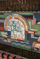The ceiling mural of the porte-cochère, by Herman Sachs, former Bullocks Wilshire department store. <br /> Art Deco design.Photo Dec. 1987.