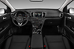 Stock photo of straight dashboard view of 2018 KIA Sportage EX 5 Door SUV Dashboard