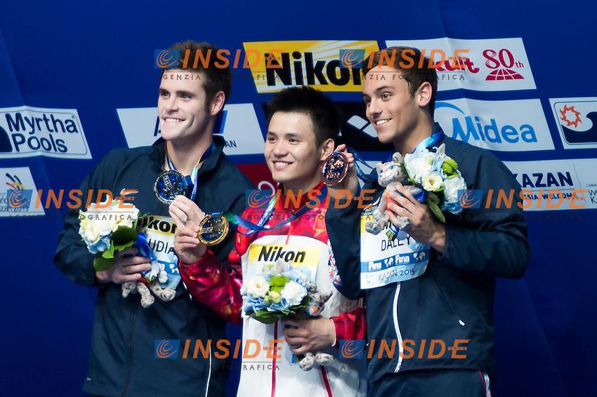 QIU Bo CHN gold medal, BOUDIA David USA silver medal, DALEY Thomas GBR bronze medal<br /> Diving - Men's 10m Platform final<br /> Day 10 02/08/2015<br /> XVI FINA World Championships Aquatics Swimming<br /> Kazan Tatarstan RUS July 24 - Aug. 9 2015 <br /> Photo Giorgio Perottino/Deepbluemedia/Insidefoto