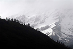 The original name for the Kullu valley was Kulantapith -the end of the habitable world.It is a narrow alpine valley drained by the Beas River and enclosed by the Pir Panjal to the north,the Bara Bangahal range to the west and the Parvati range to the east.This view is looking north from Vashisht  towards the Rohtang Pass.