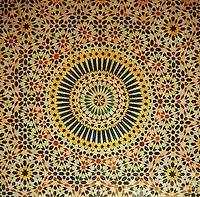 The ceiling of the Mnebhi Palace is decorated with hand-painted tiles using the motif of a radiating star