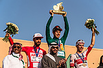 The final podium centre Phil Bauhaus (GER) Bahrain-Mclaren wins the overall general classification, left Nacer Bouhanni (FRA) Team Arkea Samsic and right Rui Costa (POR) UAE Team Emirates at the end of Stage 5 of the Saudi Tour 2020 running 144km from Princess Nourah University to Al Masmak, Saudi Arabia. 8th February 2020. <br /> Picture: ASO/Kåre Dehlie Thorstad | Cyclefile<br /> All photos usage must carry mandatory copyright credit (© Cyclefile | ASO/Kåre Dehlie Thorstad)