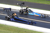 Jul 19, 2020; Clermont, Indiana, USA; NHRA top fuel driver Todd Paton (near) defeats Clay Millican during the Summernationals at Lucas Oil Raceway. Mandatory Credit: Mark J. Rebilas-USA TODAY Sports