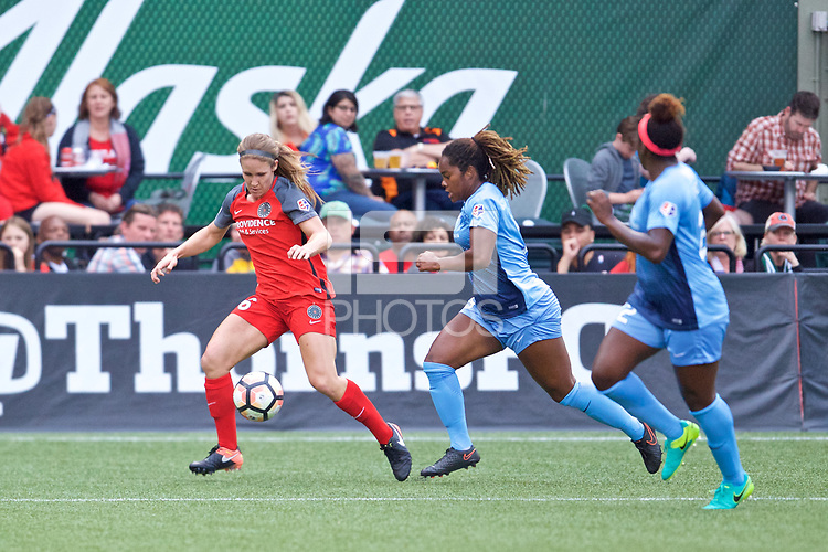 Portland, OR - Saturday June 17, 2017: Mallory Weber, Kayla Mills during a regular season National Women's Soccer League (NWSL) match between the Portland Thorns FC and Sky Blue FC at Providence Park.