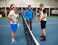 Januari 24, 2015, Rotterdam, ABNAMRO, Supermatch, Maarten Witte Umpire does the toss and Diwon de Haan<br /> Photo: Tennisimages/Henk Koster
