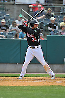 Noel Cuevas (33) of the New Britain Rock Cats bats during a game between the New Britain Rock Cats and the New Hampshire Fisher Cats at New Britain Stadium on April 19, 2015 in New Britain, Connecticut.<br /> (Gregory Vasil/Four Seam Images)