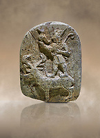 Plaque depicting the Hittite Protector of the wild standing on the back of a deer. Steatite - 14th - 13th century BC - Corum Yenikoy  - Museum of Anatolian Civilisations, Ankara, Turkey,  Against a warm art  background