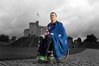 Wheelchair rugby star, Greg Smith will carry<br /> the flag for the Australian Team in London 2012<br /> Opening Ceremony. The announcement took place in<br /> Cardiff Castle, Wales. (Tuesday 21st Aug)<br /> Preview/Staging Camp Cardiff Wales<br /> Paralympics - Summer / London 2012<br /> London England 29 Aug - 9 Sept <br /> © Sport the library/Jeff Crow