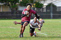 Trey Alatini of Kings College runs with the ball  during the College 1st XV Rugby - Scots College v Kings College at Scots College, Wellington, New Zealand on Saturday 8 May 2021.<br /> Copyright photo: Masanori Udagawa /  www.photosport.nz