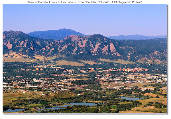 Hot air balloon provides this view of Boulder Valley and the Flatirons.<br />