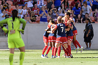 Houston, TX - Sunday Oct. 09, 2016: Crystal Dunn celebrates scoring, Ali Krieger, Estefania Banini, Christine Nairn, Caprice Dydasco during the National Women's Soccer League (NWSL) Championship match between the Washington Spirit and the Western New York Flash at BBVA Compass Stadium. The Western New York Flash win 3-2 on penalty kicks after playing to a 2-2 tie.