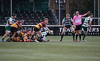 Jonny Law of Ampthill RUFC passes the ball during the Greene King IPA Championship match between Ealing Trailfinders and Ampthill RUFC being played behind closed doors due to the COVID-19 pandemic restrictions at Castle Bar , West Ealing , England  on 13 March 2021. Photo by Alan Stanford / PRiME Media Images